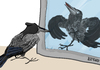Cartoon: narcissistic crow (small) by LeeFelo tagged mirror,crow,hooded,narcissistic,narcissism,gray,reflection