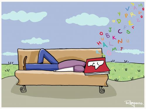Cartoon: Nap (medium) by Marcelo Rampazzo tagged nap,sleep,reading