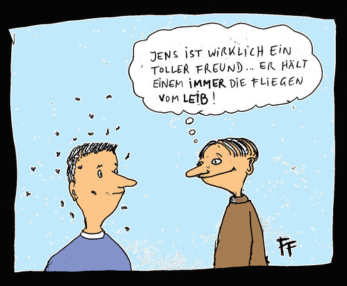 Cartoon: Freunde und Fliegen (medium) by Florian France tagged freunde,fliegen,freundschaft,jens,flies,friendship