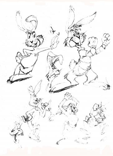 Cartoon: bugs bunny sketches (medium) by neudecker tagged bugs,bunny,sketch,line,drawing,comic,cartoon,walt,disney