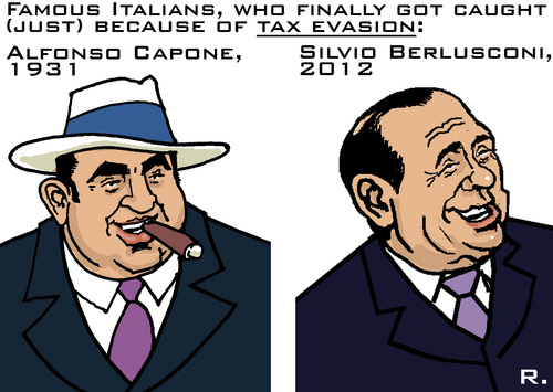 Cartoon: Famous Tax Dodgers (medium) by RachelGold tagged italy,justice,berlusconi,capone,tax,evasion