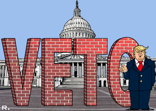 Cartoon: VETO (medium) by RachelGold tagged usa,president,trump,government,national,emergency,democrats,capitol,congress,senate,veto