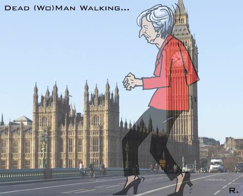Cartoon: Zombie-Prime-Minister (medium) by RachelGold tagged uk,brexit,may,parliament,motion,of,no,confidence,corbyn,zombie,prime,minister