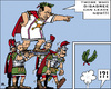 Cartoon: Caesars Shield (small) by RachelGold tagged berlusconi,italy,gouvernment,romans,asterix,gauls,shield,caesar,laurel,wreath