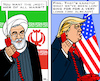 Cartoon: USA-Iran agreeing! (small) by RachelGold tagged usa,iran,war,mother,of,all,wars,agreeing,rohani,trump,telefone,world