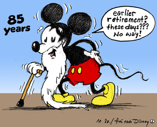 Cartoon: Happy Birthday (medium) by MarkusSzy tagged system,retirment,85,mouse,mickey