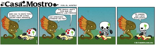 Cartoon: tira comica 019 (medium) by mostro tagged skeleton,skull,bones,snake,serpiente,emplumada,feather,mic,dioses,aztecas,quetzalcoatl,mictlantecuhtli,comida,food,huesos