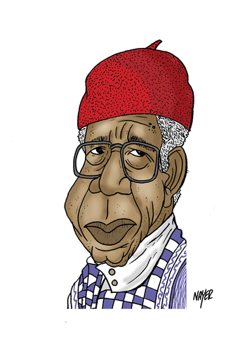 Cartoon: Chinua Achebe (medium) by Nayer tagged chinua,achebe,nigerian,nigeria,africa,african,poet,professor,writer