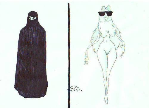 Cartoon: East  -  West (medium) by zed tagged socialisation,religion,woman,assimilation,tradition,west,east