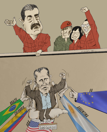 Cartoon: Towards a class war in Venezuela (medium) by firuzkutal tagged crisis,venezuela,latin,america,usa,president,maduro,juan,guaido,chavez,class,divisions,economic