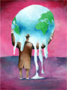 Cartoon: Global-warming (small) by firuzkutal tagged globa lwarming warming world earth leaders greenhouse politic environment climate copenhagen treaty greenpeace energy nuclear gas reduction firuzkutal