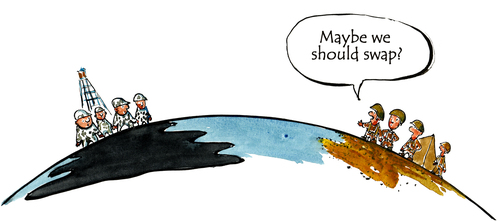 Cartoon: In doubt... (medium) by Frits Ahlefeldt tagged pollution,oil,spill,environment,doubt,defending