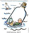 Cartoon: Life goes on (small) by Frits Ahlefeldt tagged climate global warming environment nature bottle flood funny cartoon humor hikingartist sea lonelyness isolation island message dating modern middleage television