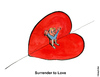 Cartoon: Surrender to Love (small) by Frits Ahlefeldt tagged love,happiness,wellness,healing,romance,feelings
