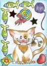Cartoon: kitty cat (small) by Metalbride tagged kakaokarten,sammelkarten,traiding,cards,buntstifte,fineliner,streuteile