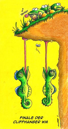 Cartoon: Cliffhanger (medium) by Jupp tagged chamäleon,cliffhanger,jupp,cartoon