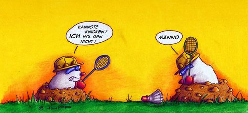 Cartoon: Maulwurf beim Federball (medium) by Jupp tagged cartoon,jupp,badminton,federball,mole,maulwurf