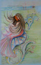 Cartoon: Mermaid on Seahorse (small) by remyfrancis tagged mermaid seahorse under water toy fantasy world fairytale day dream sketch color drawing