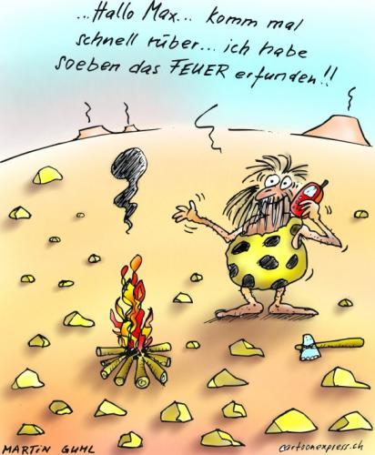 Cartoon: feuer steinzeit handy (medium) by martin guhl tagged feuer,steinzeit,handy