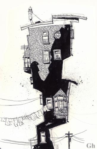 Cartoon: Brick building (medium) by Gordon Hammond tagged black,and,white,drawing,ink
