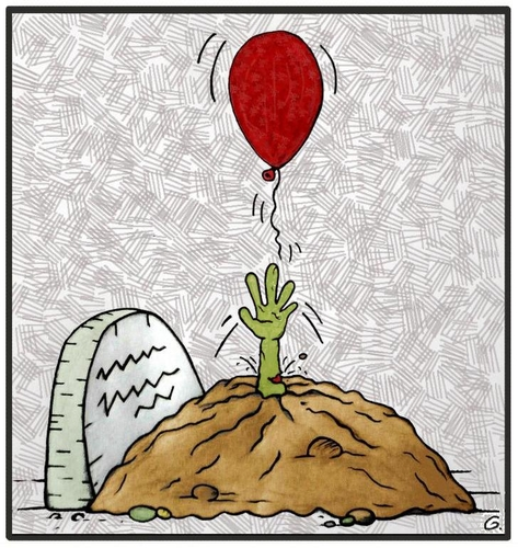 Cartoon: Pretty Zombie (medium) by gultekinsavk tagged balloon,catch,up,wake,zombie