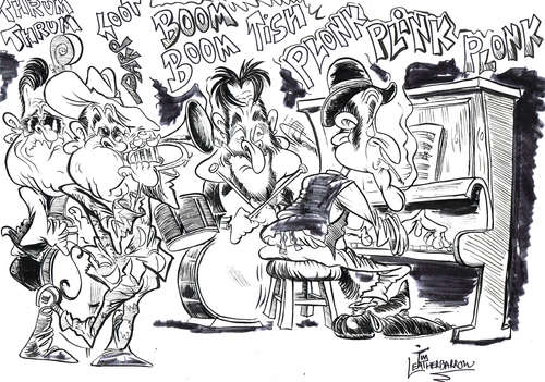 Cartoon: THE JAZZ BAND (medium) by Tim Leatherbarrow tagged jazz,jazzband,groove,music,timleatherbarrow