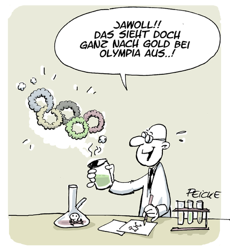 Cartoon: Gold bei Olympia (medium) by FEICKE tagged olympia,gold,medaille,doping,olympia,gold,medaille,doping
