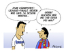 Cartoon: Messi vs Ronaldo (small) by FEICKE tagged fussball,champions,league,halbfinal,finale,fc,barcelona,real,madrid,bayern,münchen,borussia,dortmund,messi,ronaldo