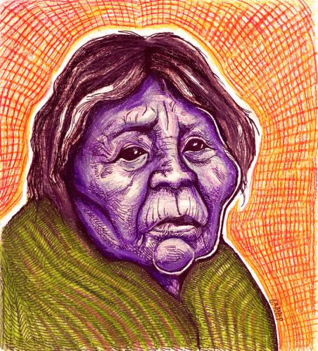 Cartoon: Skokomish woman (medium) by grant tagged skokomish,also,known,as,the,twana,are,native,american,tribe,in,western,washington,state