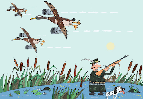 Cartoon: Entenjagd (medium) by Sergei Belozerov tagged hunting,hunt,duck,hunter,rifle,gun,fowl,wild,jäger,gewehr,flinte,ente,spaniel,jagdhund,motor,flugzeug,flug,patrone,entenjagd