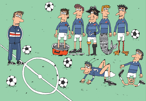 Cartoon: Forwards (medium) by belozerov tagged football,soccer,player,ball,legs,mermaid,grasshopper,team,championship,liga