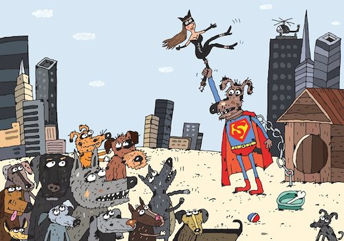 Cartoon: Once upon a time in America (medium) by Sergei Belozerov tagged dog,cat,superman,catwoman,hollywood,film,movie,casting,blockbuster,show