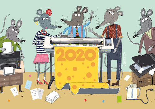 Cartoon: Year of the Mouse 2020 (medium) by Sergei Belozerov tagged mouse,mice,cheese,2020,poster,scanner,plotter,printer,print,polygraphy