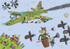 Cartoon: sky (small) by Sergei Belozerov tagged sky,airplane,fighter,witch,owl