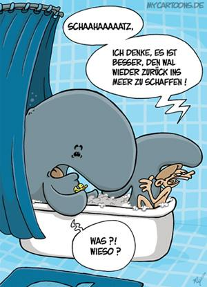 Cartoon: Walfühlbad (medium) by mil tagged wal,bad,badezimmer,mann,domestizierung,wohlfühlen,free,willy,problem,tier,mil