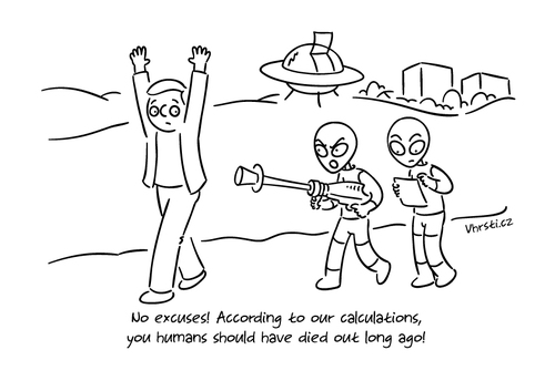 Cartoon: No excuses! (medium) by Vhrsti tagged alien,ufo,attack,human,humans,gun,scifi,universe,planet,earth