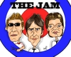 Cartoon: The Jam (small) by Mark Anthony Brind tagged paul,weller,rick,buckler,bruce,foxton,the,jam,caricature,mark,anthony,brind,mod