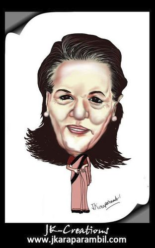 Cartoon: sonia gandhi (medium) by jkaraparambil tagged sonia,gandhi,rajeev,rajiv,indira,ahul,congress,party,leader