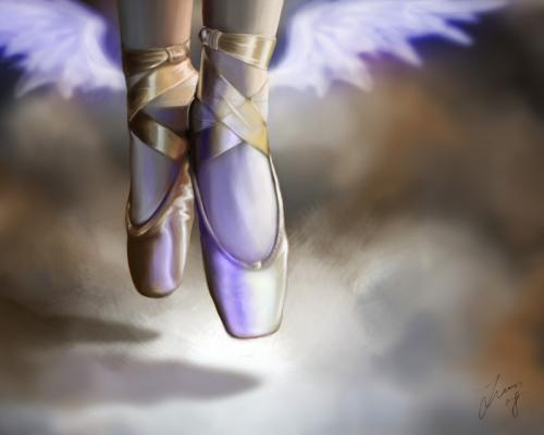 Cartoon: A dream of Ballet (medium) by lun2004 tagged crown,wing,fantasy,ballet,dream,sky,illusion,fly