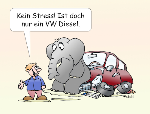 Cartoon: Dieselauto (medium) by wista tagged diesel,auto,elefant,kaputt,defekt,volkswagen,software,betrug,schummelsoftware,abgaswerte,abgase,nox,stickoxide,fahrverbot,fahrverbote,tanken,dieselautos,pkw,plakette,blau,grün,autokonzerne,vw,konzern,audi,bmw,mercedesabschaltsoftware,katalysator