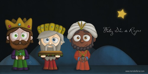 Cartoon: Feliz dia de Reyes (medium) by kellerac tagged dia,de,reyes,three,kings,day,maria,keller,cartoon