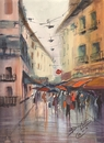 Cartoon: shopping in the rain (small) by cabap tagged watercolor