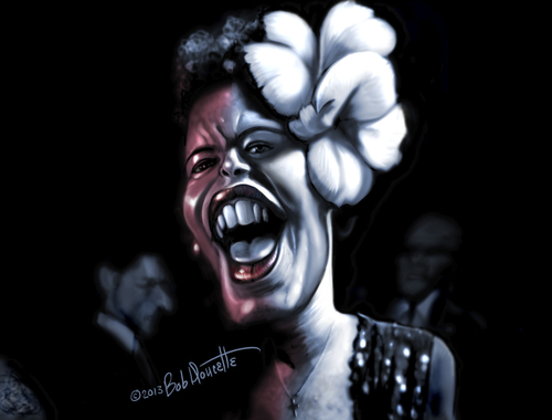 Cartoon: Billie Holiday (medium) by tobo tagged billie,holiday,caricature