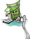 Cartoon: buck accounting (small) by dumo tagged dollar,buck,accounting,bill,color,cartoon,mascot
