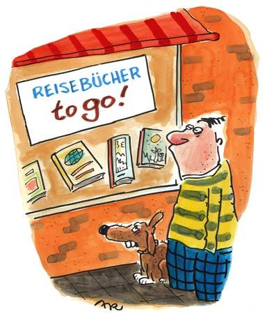 Cartoon: Reisebücher (medium) by ari tagged angebot,literatur,reise,book,man,buch,mann,sale,urlaub,lektüre