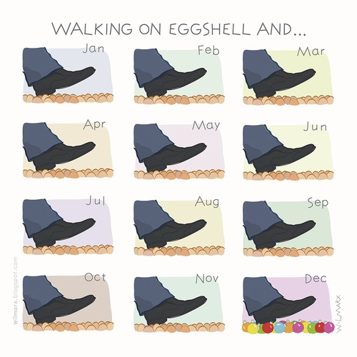 Cartoon: Walking on eggshells and... (medium) by Wilmarx tagged everyday,behavior,data,egg,christmas