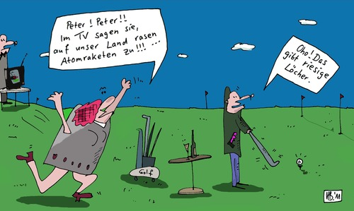 Cartoon: Golf (medium) by Leichnam tagged golf,peter,atomraketen,land,rasen,lächer,riesig,leichnam,ruhe