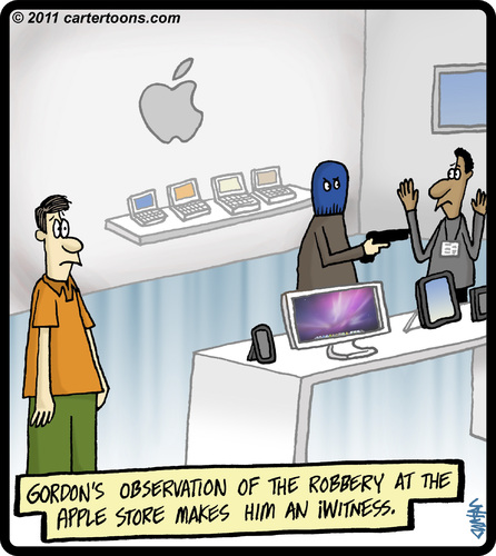 Cartoon: iWitness (medium) by cartertoons tagged witness,iwitness,crime,robbery,store,computer,apple