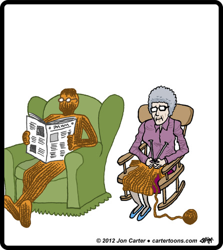 Cartoon: Knit Husband (medium) by cartertoons tagged knit,knitting,crafts,hobby,hobbies,grandparents,marriage,couples,love,knit,knitting,crafts,hobby,hobbies,grandparents,marriage,couples,love