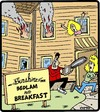 Cartoon: Bedlam and Breakfast (small) by cartertoons tagged breakfast,bed,hospitality,hotels,mayhem